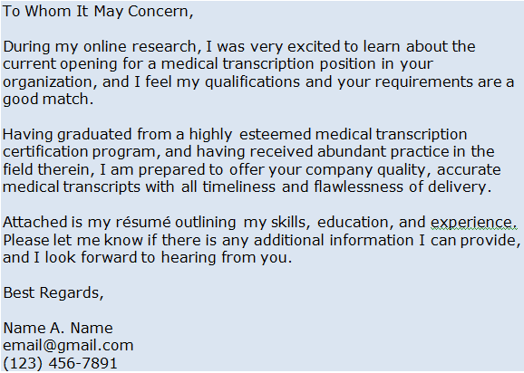 Medical Transcription Cover Letter Example Freebie