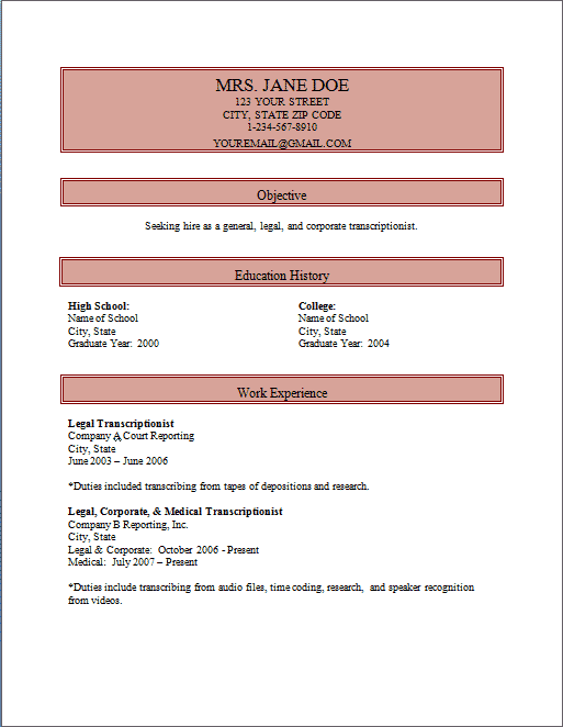 medical transcriptionist resume samples - Medical Transcription Resume Examples