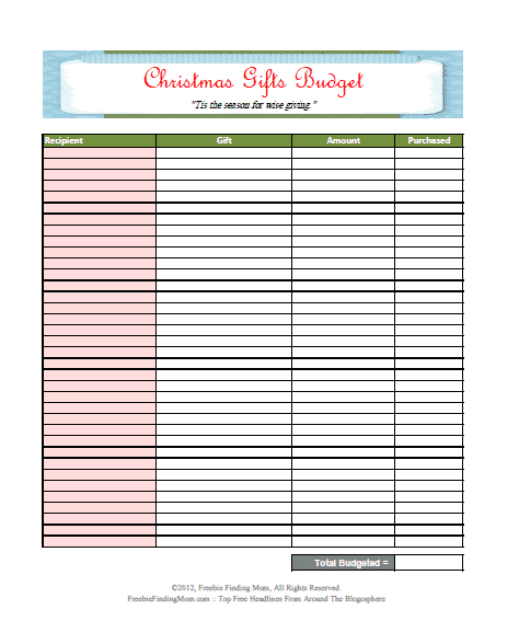 Christmas printable budget worksheet