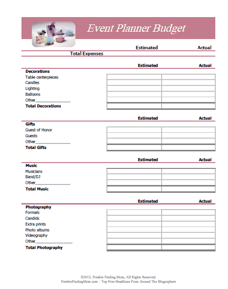 Event Planner printable budget worksheet