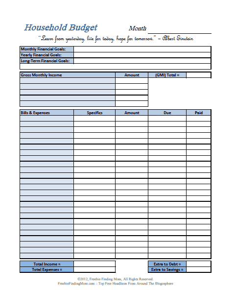 Free budget worksheets printable