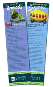 Free Recipe Bookmarks by The Cancer Project