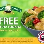 Free Garlic Lovers Chicken Breast from Panda Express (with any purchase)