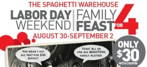 Spaghetti Warehouse Labor Day deal banner