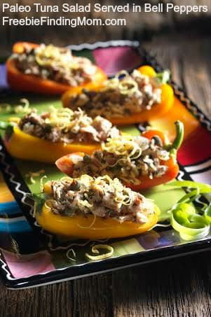 Paleo Tuna Salad (With No Mayo) Served in Bell Peppers - Delicious, healthy and flavorful meal for the family.