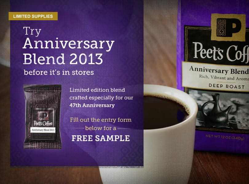 peet's annivesary blend free sample
