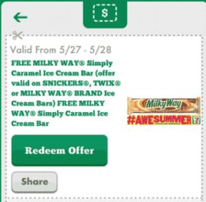 Milky Way Simply Caramel Ice Cream Bar at 7-Eleven freebie