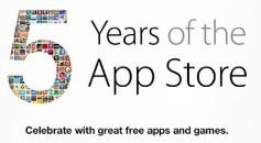 5th Anniversary of the Apple App Store banner to promote free iTunes download