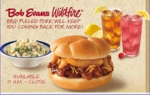 Bob Evans Pulled Pork Combo to promote buy 1 get 1 free