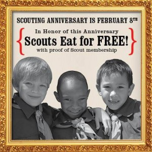 Buca di Beppo FREE Kids Meal for Boys Scouts banner to promote Buca di Beppo coupon