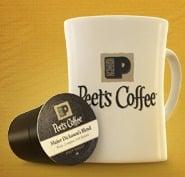 Peet's Coffee & Tea mug and single serve cup to promote freebie