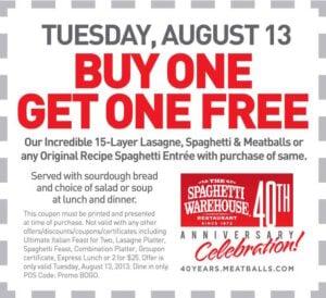 Spaghetti Warehouse Buy One Get One FREE Lasagne, Spaghetti & Meatballs or Original Recipe Spaghetti banner
