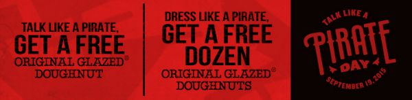 Krispy Kreme Talk Like a Pirate Day Free Doughnut promotion banner 2
