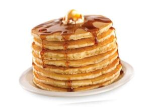 stack of pancakes to promote Denny's kids eat free
