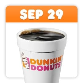 Dunkin' Donuts banner for National Coffee Day