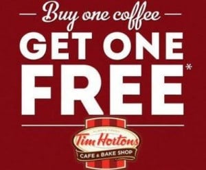 Tim Hortons buy 1 get 1 free coffee banner for National Coffee Day