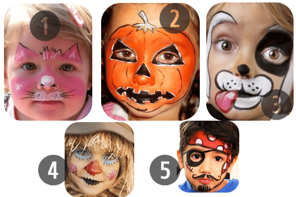 1-5 of the 25 Easy (and Not So Easy) DIY Halloween Face Painting Ideas for Kids