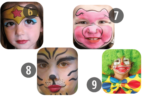 6-9 of the 25 Easy (and Not So Easy) DIY Halloween Face Painting Ideas for Kids