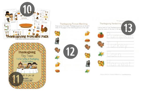 10-13 of the 25 FREE Preschool Thanksgiving Printables
