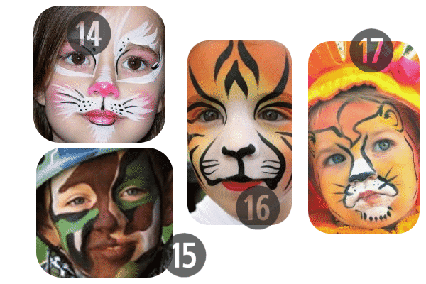 14-17 of the 25 Easy (and Not So Easy) DIY Halloween Face Painting Ideas for Kids