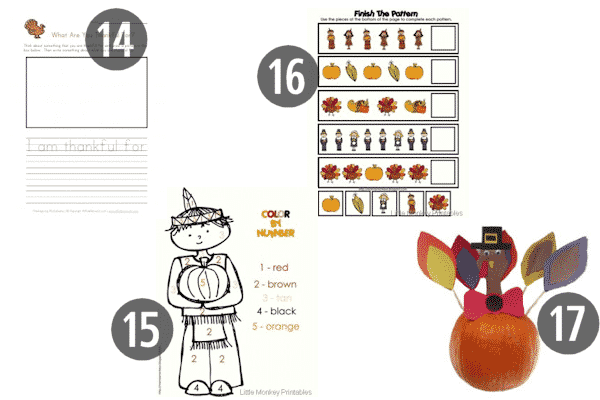 14-17 of the 25 FREE Preschool Thanksgiving Printables