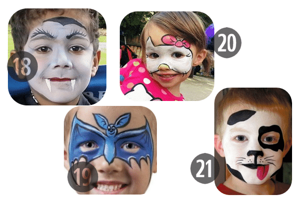 18-21 of the 25 Easy (and Not So Easy) DIY Halloween Face Painting Ideas for Kids