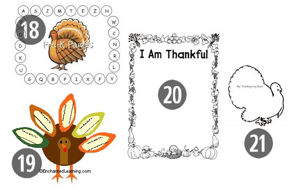 18-21 of the 25 FREE Preschool Thanksgiving Printables