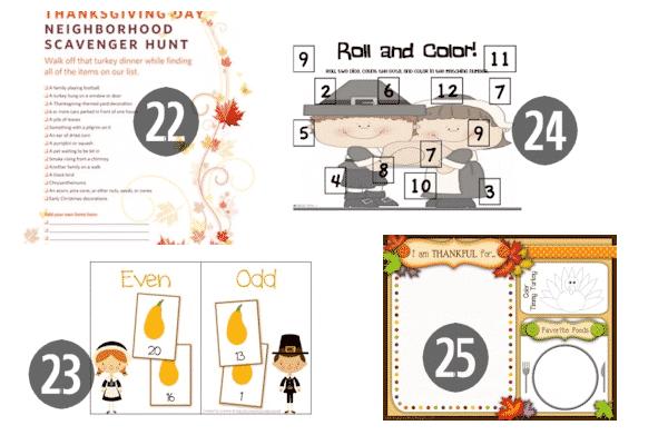 22-25 of the 25 FREE Preschool Thanksgiving Printables