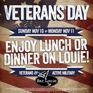 Bar Louie Veterans Day freebies