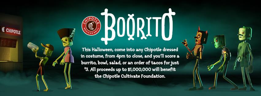 Chipotle's Boorito banner to promote Halloween offer