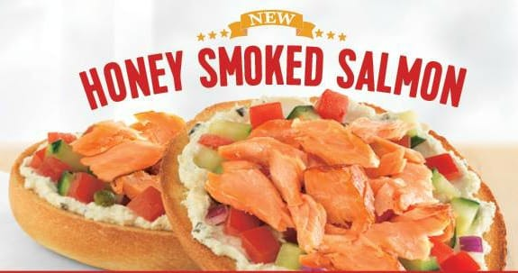 Einstein Bros Bagels banner to promote Einstein Bros Bagels coupon for a buy 1 get 1 free salmon sandwich