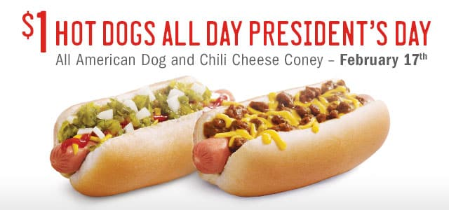 Sonic hot dog and chili cheese coney to promote Sonic deal on Presidents' Day
