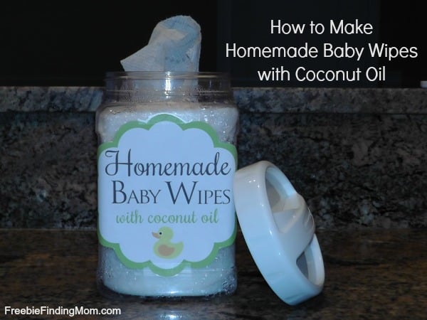 Homemade baby wipes with coconut oil