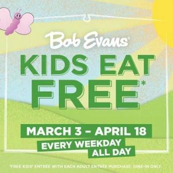 Bob Evans kids eat free banner