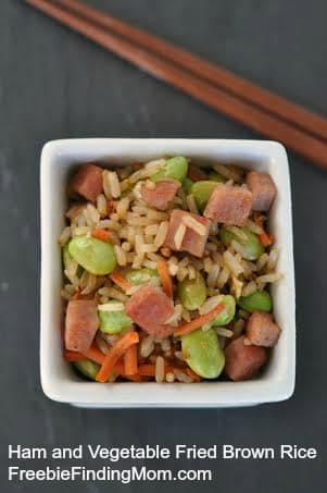 One Pot Meal: Ham and Vegetable Fried Brown Rice - Healthy, low calorie recipe that tastes just as good as takeout.