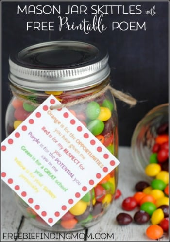Mason Jar Skittles with Free Printable Poem - Great DIY gift for Teacher Appreciation Week, Christmas, or any holiday.