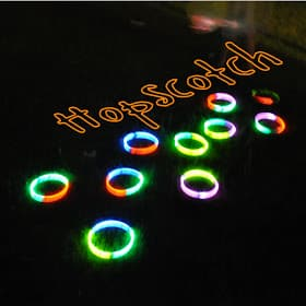Outdoor party game glow in the dark hopscotch