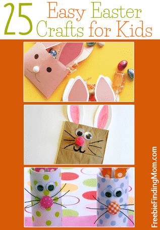 25 Easy Easter Crafts for Kids - Get the kids in the Easter spirit with fun and easy Easter crafts including toilet paper roll bunnies, bunny envelope treat bags, and more.