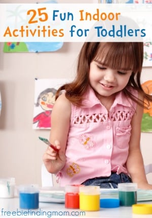 25 Fun Indoor Activities for Toddlers - Keep the kids active, engaged, and having fun with balloon hockey, indoor hopscotch, glitter slime and more.