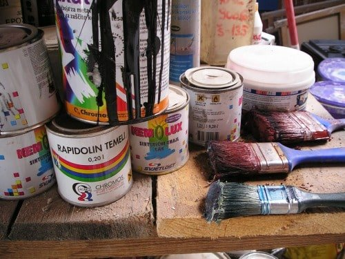 Realistic Frugal Living Tips - paint cans and brushes