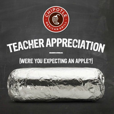 Chipotle: Buy One Get One FREE Burrito, Bowl, Salad, or Order of Tacos on Teacher Appreciation Day (May 6)