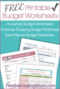 FREE Printable Budget Worksheets - Download worksheets for household expenses, holiday shopping and event planning.