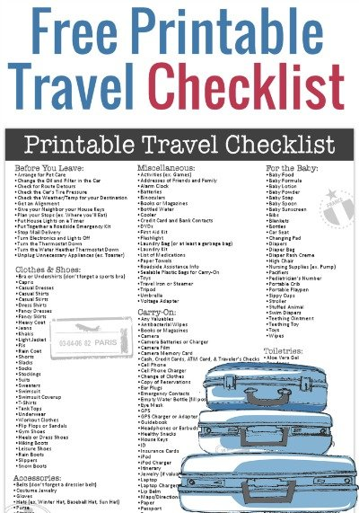 Free Printable Travel Checklist From Freebie Finding Mom