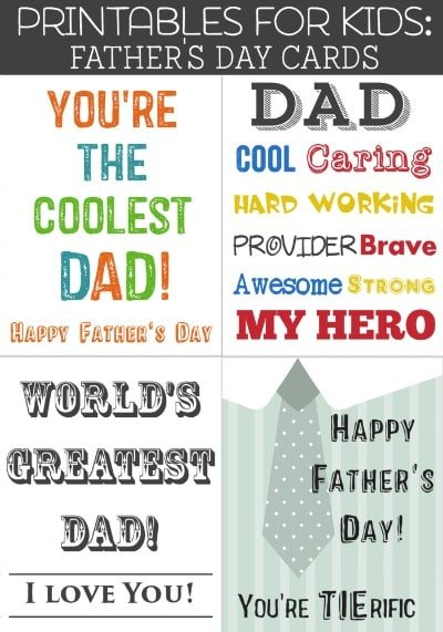 Free Printable Father's Day Cards - Skip the expensive, generic Father's Day card, remind dad how terrific he is and save money doing it with these free printable Father's Day cards.