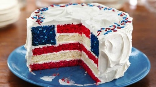 Memorial Day Party Ideas - red, white, and blue layered flag cake