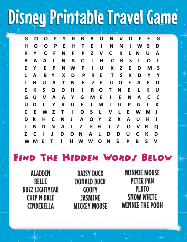 picture about Disney Word Search Printable titled Cost-free Disney Term Look + Much more Printable Generate Game titles for Youngsters