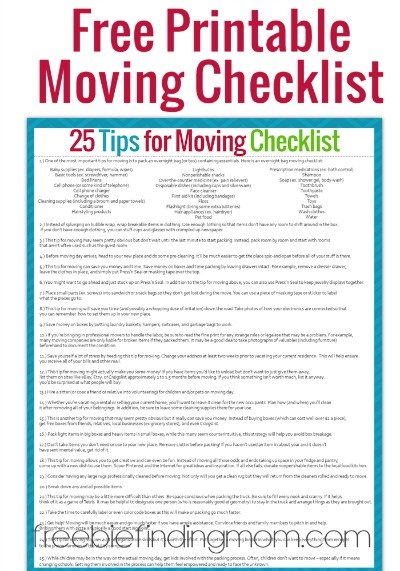Tips for moving plus a free printable moving checklist for Moving into a new house checklist