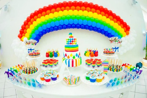 rainbow party table settings