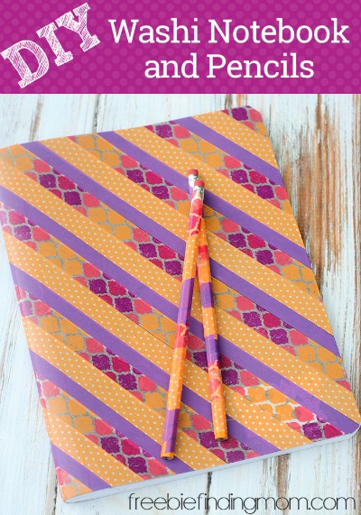 DIY Washi Notebook and Pencils - With the help of washi tape the kids can make squeal worthy school supplies they will be proud to show off with this fun back to school art project.