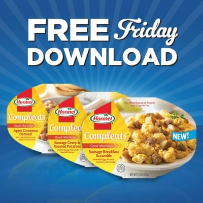 Hormel Breakfast Compleats to promote this week's Kroger free Friday download